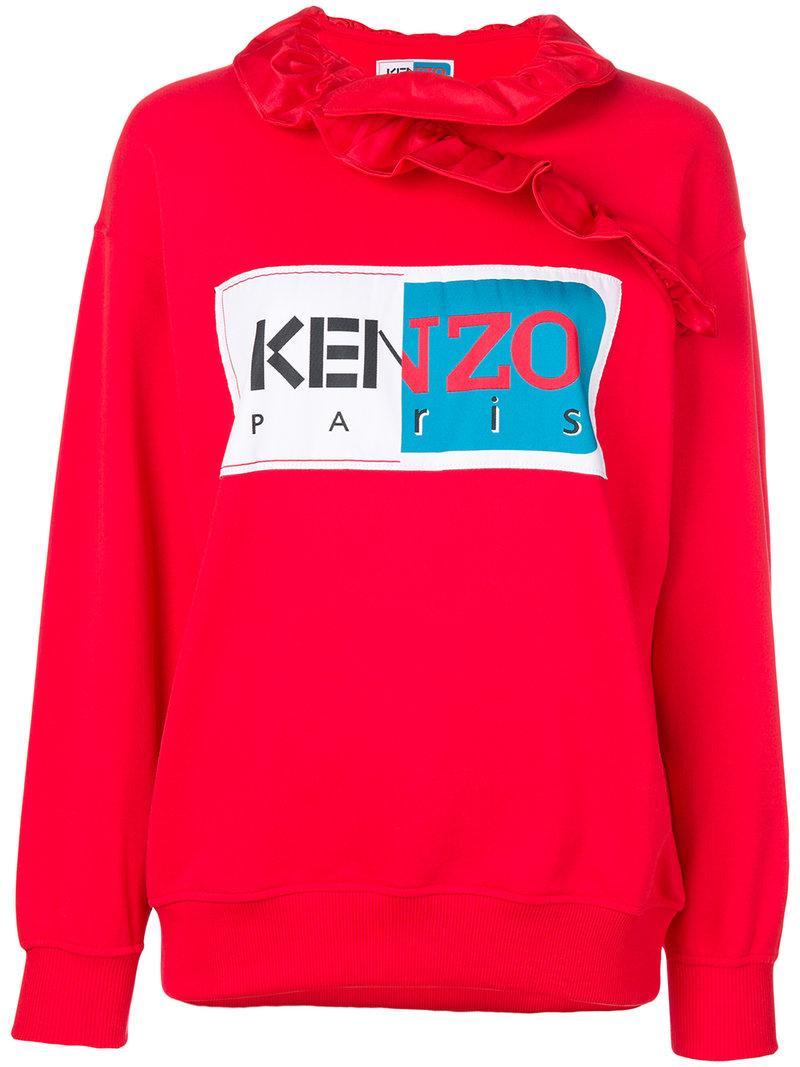 caae95e4357 Kenzo La Collection Memento N Deg 1 Ruffle-Neck Logo Sweatshirt In Rosso