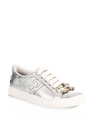 Marc By Marc Jacobs Empire Chain Link Leather Sneakers In Silver