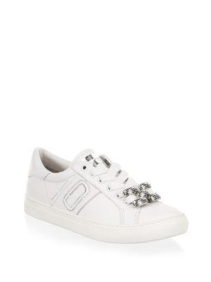 Marc By Marc Jacobs Empire Chain Link Leather Sneakers In White
