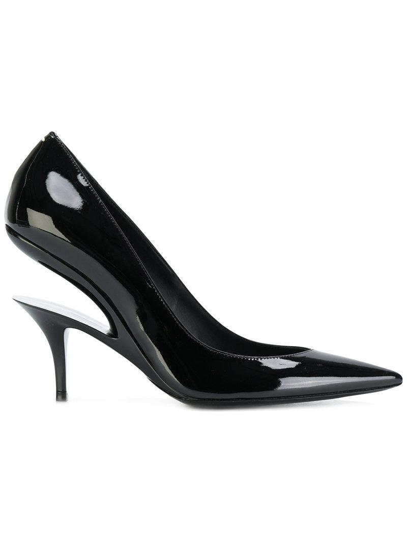 Maison Margiela Suspended-Heel Patent-Leather Pumps In Black