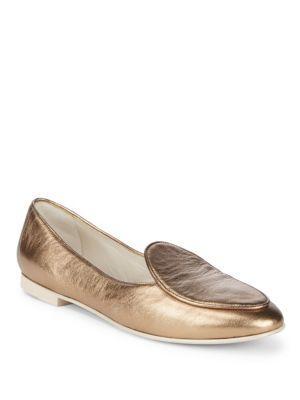 Giorgio Armani Almond Toe Leather Loafers In Bronze