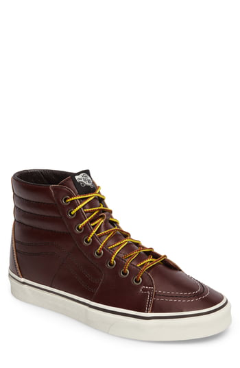 Vans Sk8-Hi Sneaker In Rum Raisin/Marshmallow Leather