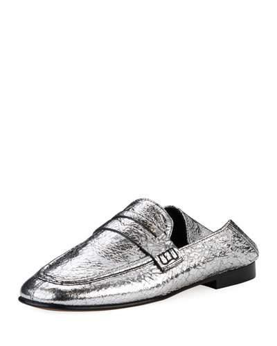 1f3d49e6cab Isabel Marant Fezzy Metallic Cracked-Leather Collapsible-Heel Loafers In  Silver