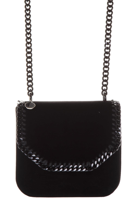 Stella Mccartney Large Falebella Box Velvet Shoulder Bag In Black