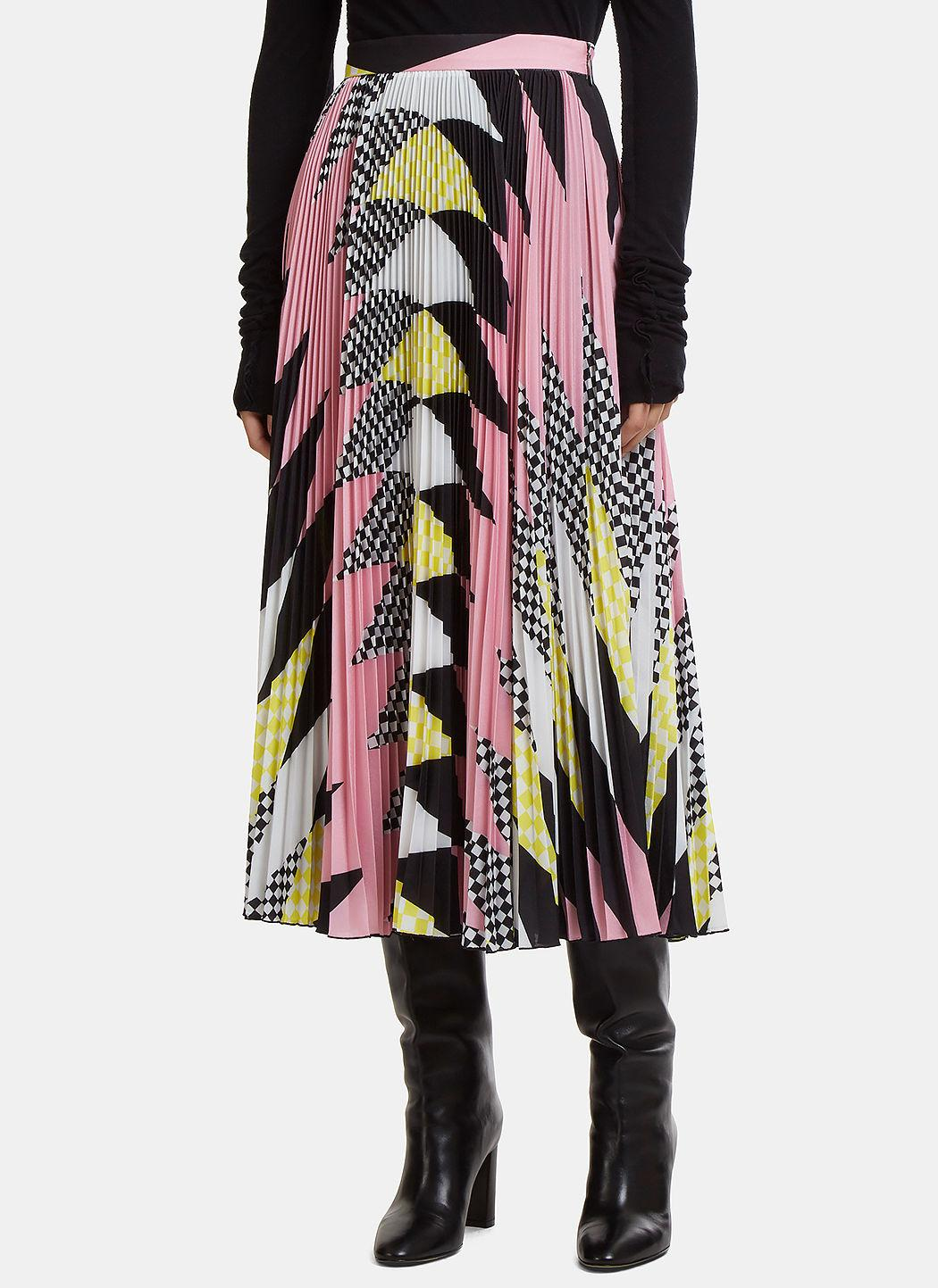 5f16dc3f77 Msgm Geometric Pleated Skirt In Pink In Black | ModeSens