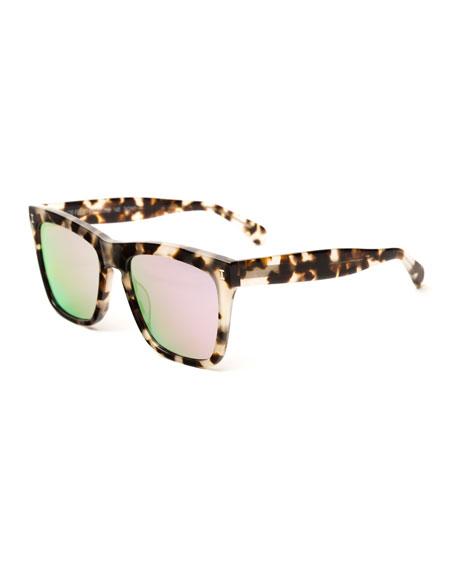 Illesteva Square Mirrored Sunglasses, Brown