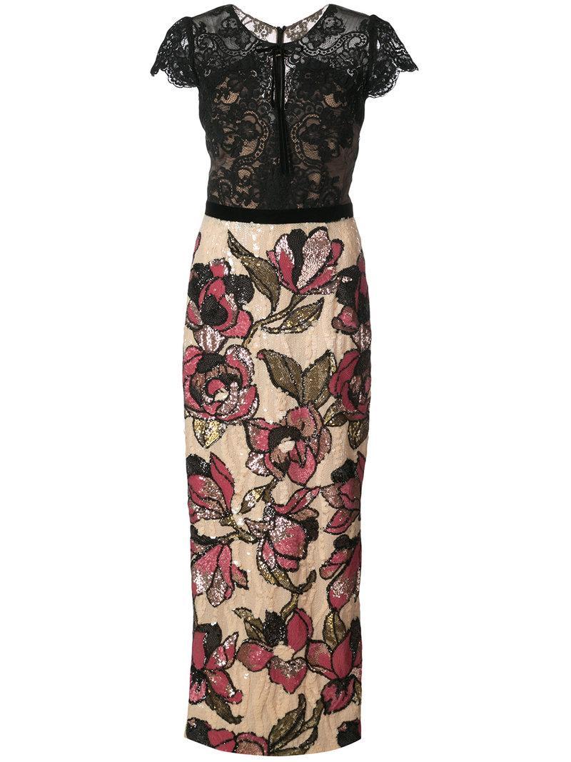 Marchesa Notte Black Floral Sequin Midi Tea Dress