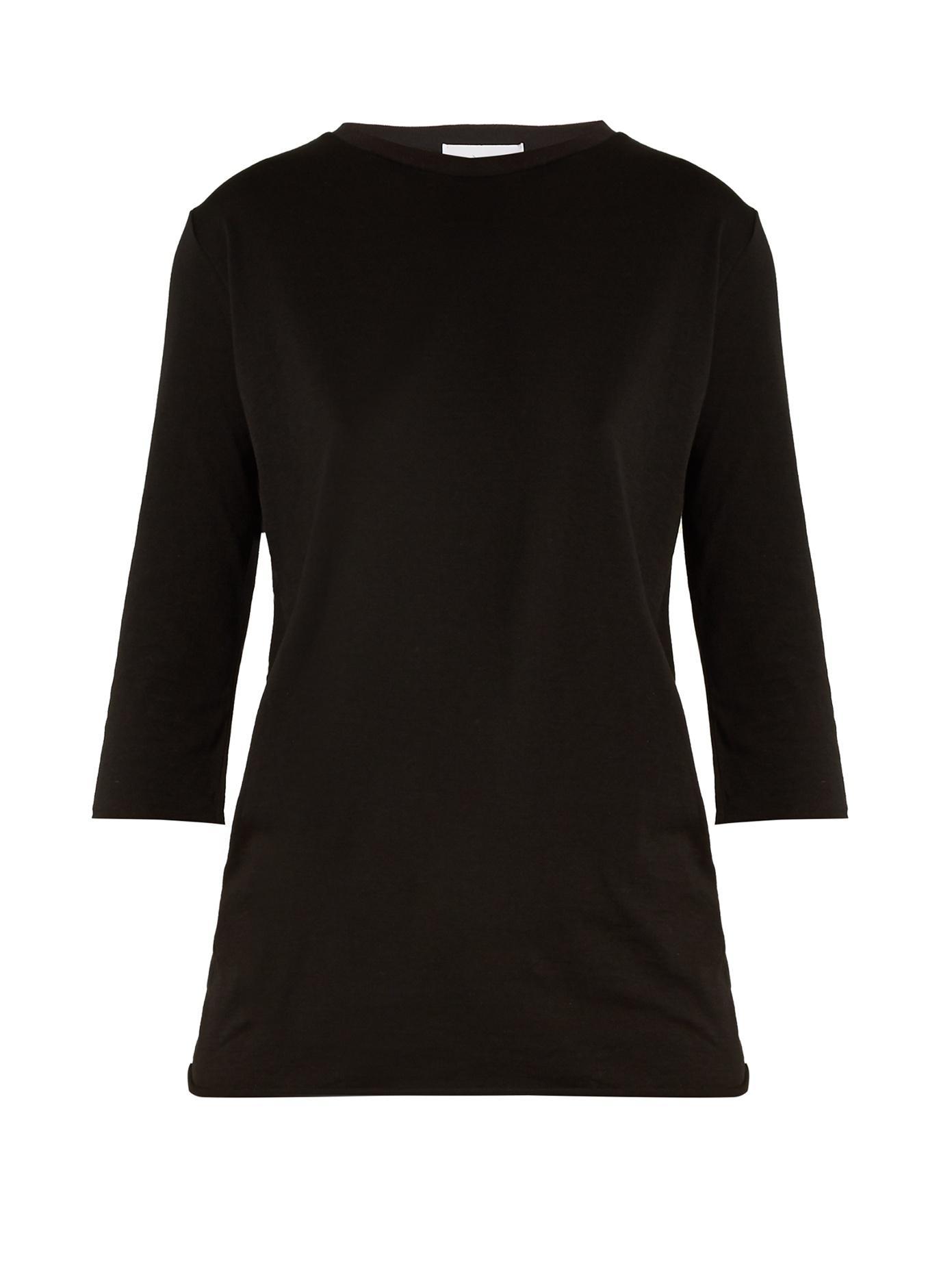 16455ea4ba31ce Raey - Half Sleeve Cotton T Shirt - Womens - Black | ModeSens