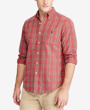 b9cd5844 Plaid Oxford Long Sleeve Button-Down Shirt in Red/Hunter Green