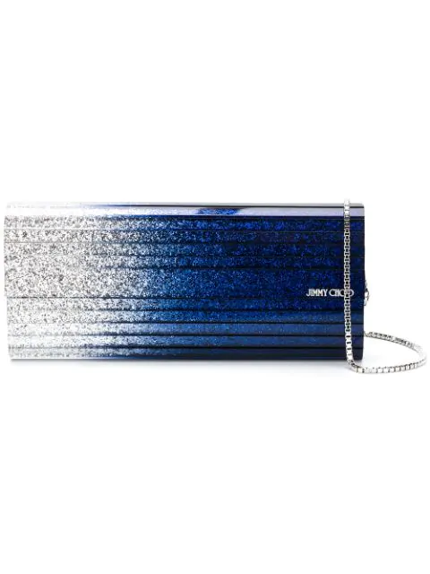 Jimmy Choo Sweetie Silver And Navy DÉgradÉ Glitter Acrylic Clutch Bag In Silver/navy