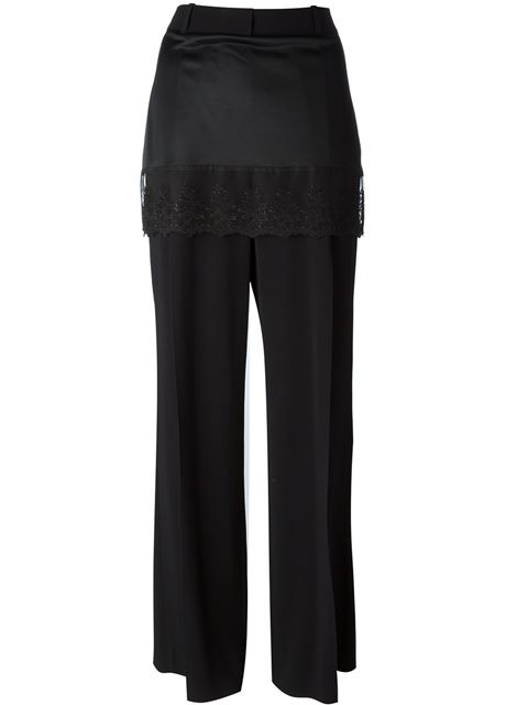 Givenchy Lace Skirt Overlay Wide-Leg Pants In Black