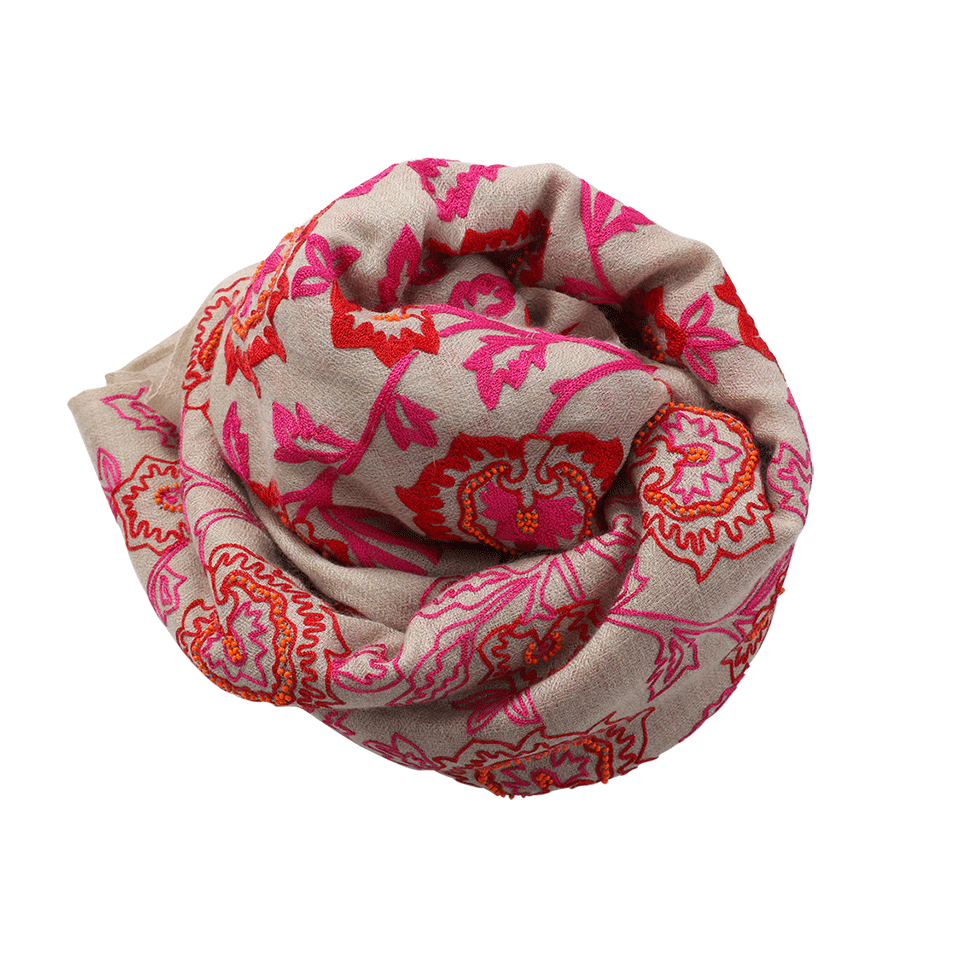 K. Janavi Floral Beaded Scarf In Red-pink
