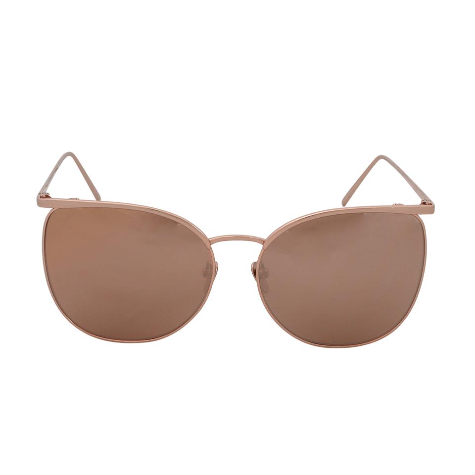 Linda Farrow Aviator Sunglasses In Rosegold