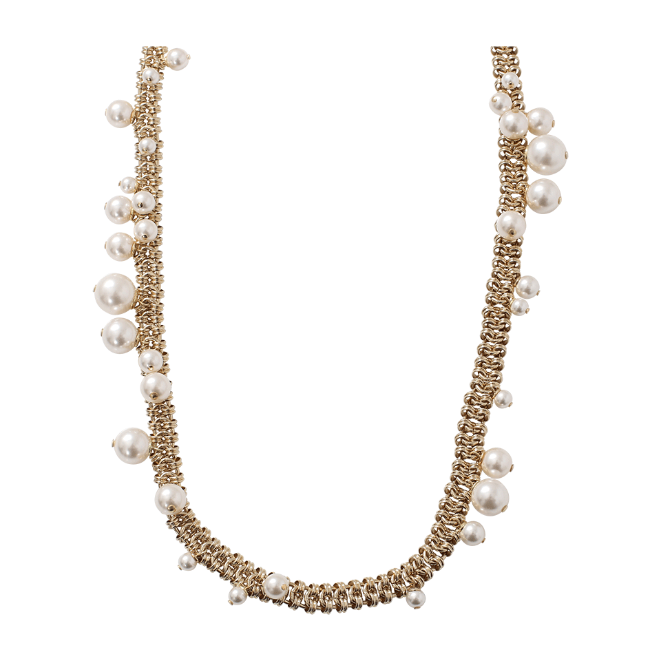 Lanvin Pearl Necklace: Lanvin Long Pearl Necklace In White