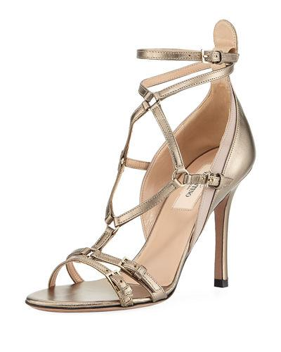 Valentino Metallic High Leather Pump In Gray Pattern