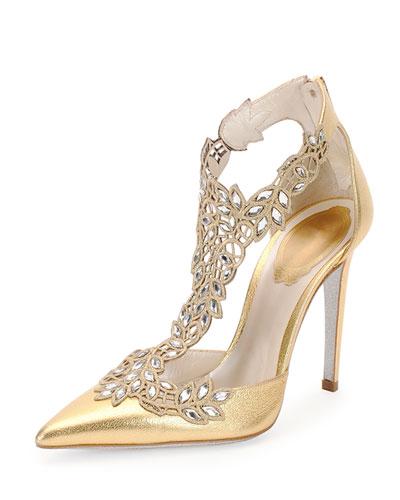 024b30552fbe RenÉ Caovilla Embroidered Swarovski Crystal T-Strap Pumps In Gold ...