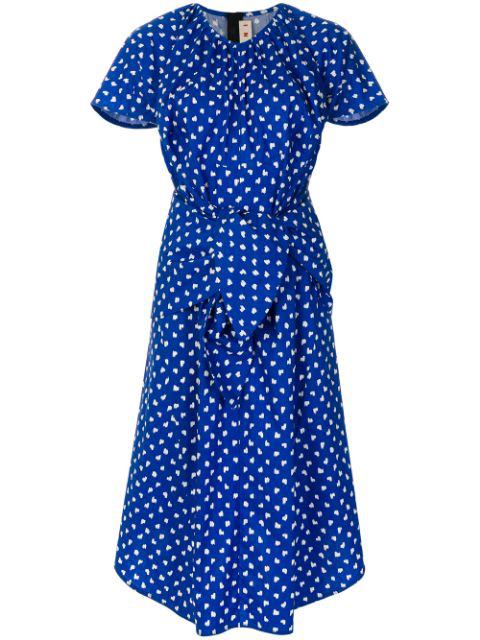 a820466c8ad2 Marni Short-Sleeve Dot-Print Tie-Waist Cotton Poplin Dress In Blue ...