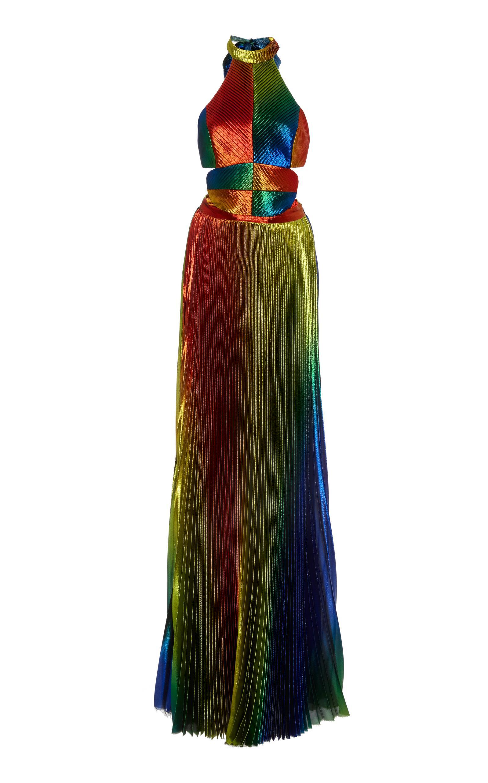 6995045ad90 Rosie Assoulin Cutout Pleated Silk-Blend LamÉ Halterneck Gown In Leaf Green