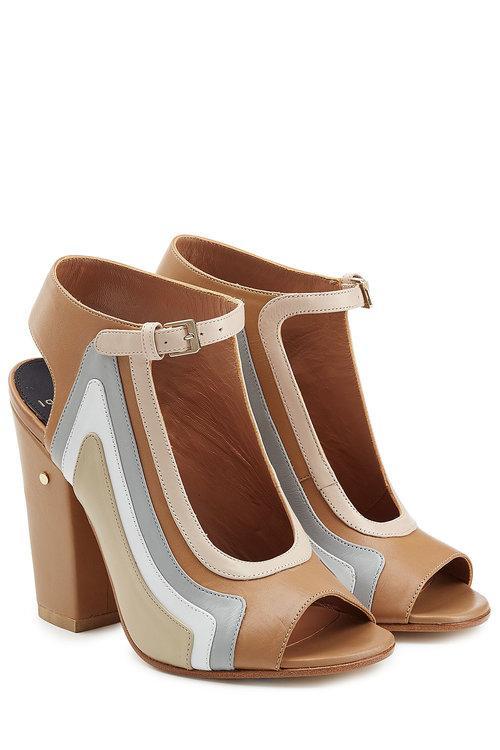 Laurence Dacade Keric Leather Block Heel Sandals In Beige
