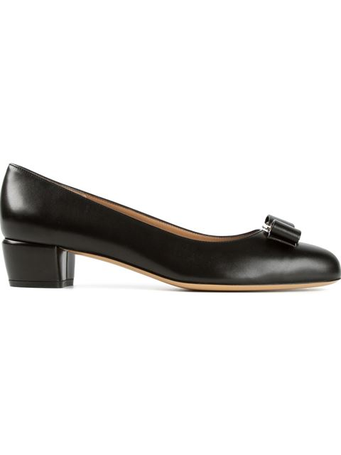 Salvatore Ferragamo Black Patent Calfskin 'Vara' Bow Kitten Pumps