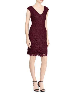 Ralph Lauren Lauren  Petites Floral Lace Dress In Red