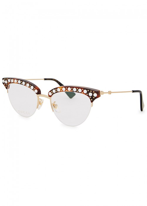 1eb7ca20508 Gucci Cat-Eye Faux-Pearl Embellished Metal Glasses In Black