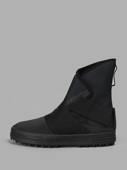 Y-3 Women S Black New Snow Foxing Strap High Sneakers  efe65da42