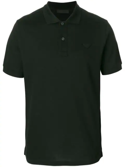 a5f57c94 Prada - Conceptual Triangle Logo Cotton Piqué Polo T Shirt - Mens - Black