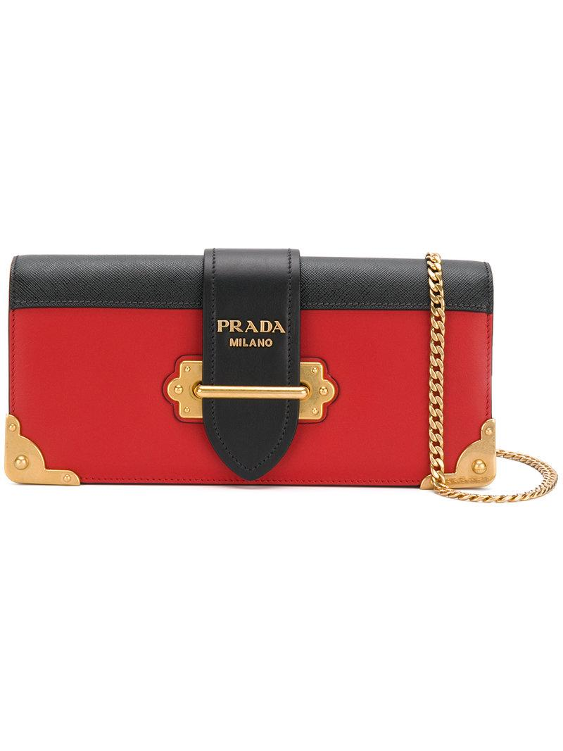 3ba2633c7493 Prada Cahier Two-Tone Leather Shoulder Bag In Red | ModeSens