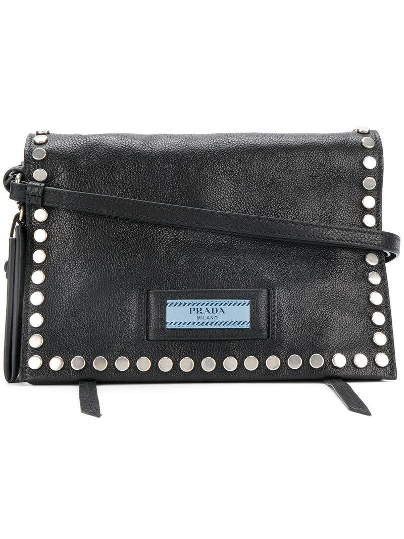 a43ba70e16ca Prada Etiquette Small Studded Textured-Leather Shoulder Bag In Black ...