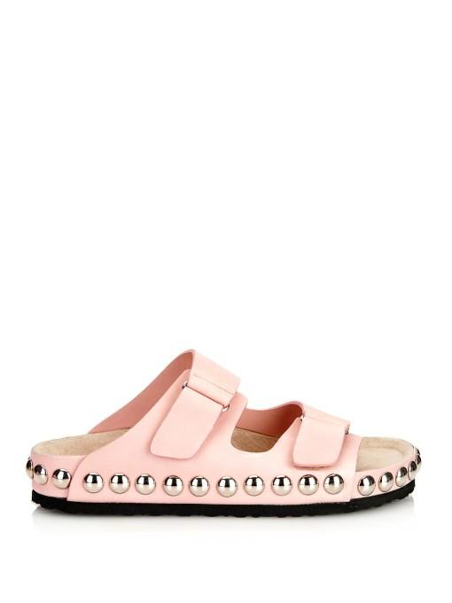 Giambattista Valli Studded Leather Sandals In Light-Pink