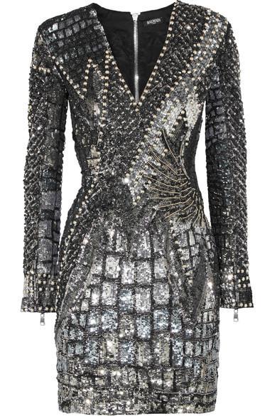 856f2d9c Balmain Striped V-Neck Long-Sleeve Mini Dress In Black | ModeSens