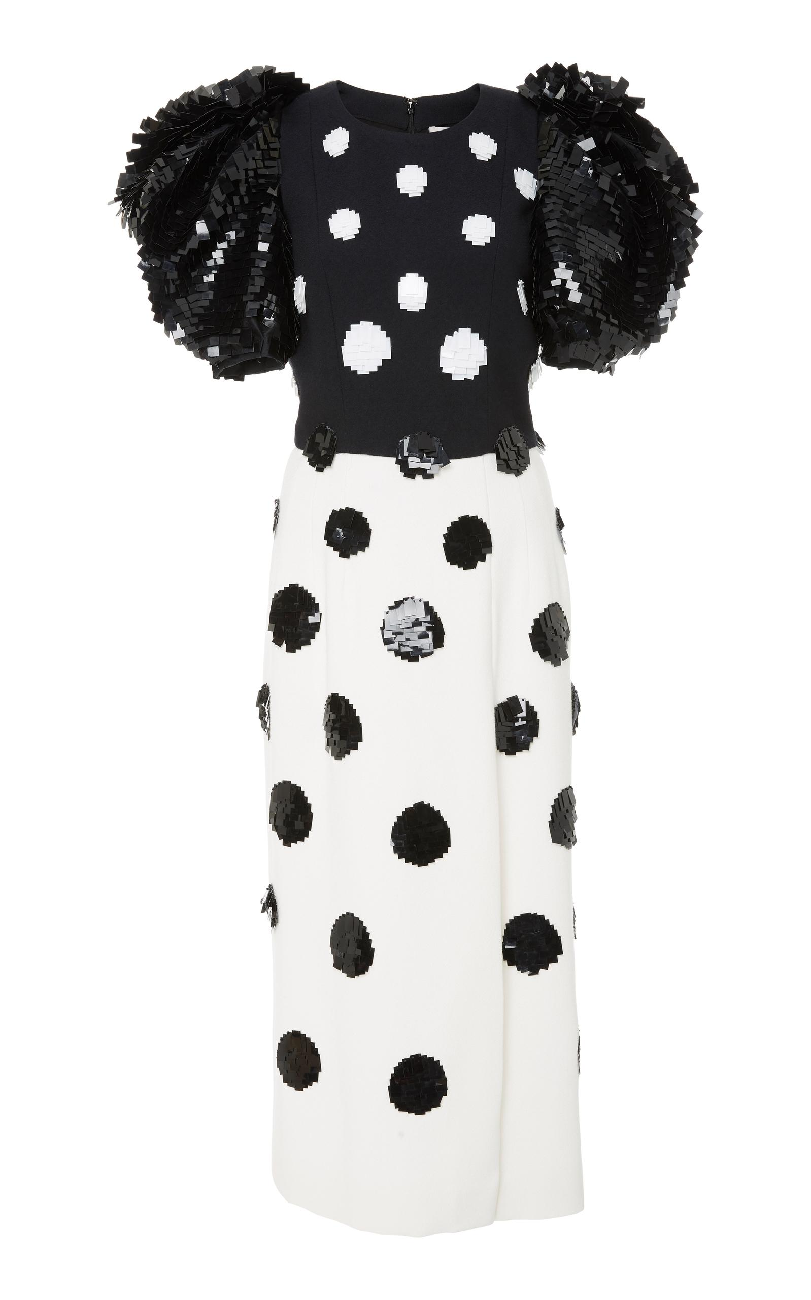d83958541817b Carolina Herrera Short Puff-Sleeve Fitted Dotted Cocktail Dress In  Black White