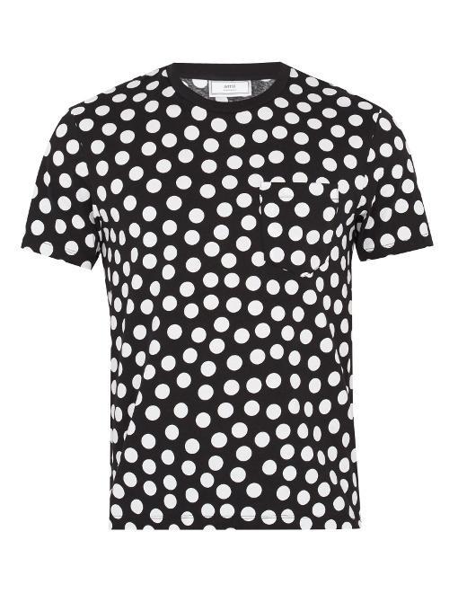 Ami Alexandre Mattiussi Polka-dot Print Crew-neck Cotton T-shirt In Black, White
