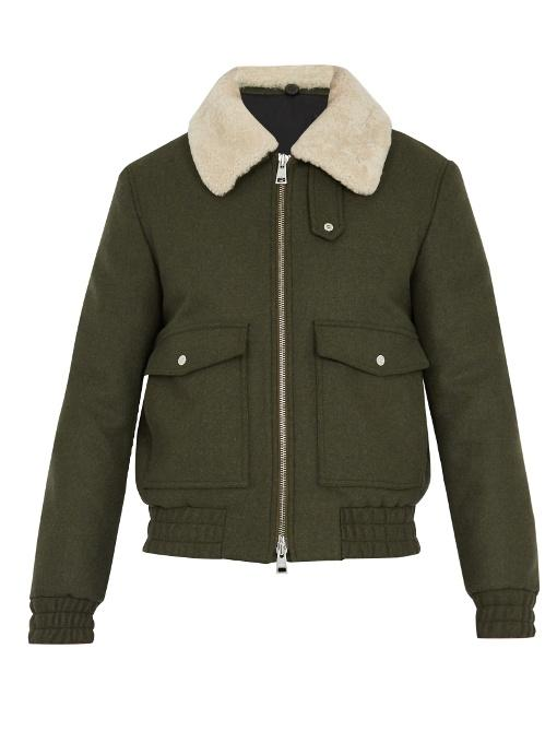 219a66214 Shearling-Collar Wool-Blend Bomber Jacket in Khaki