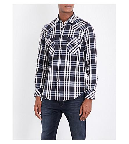 Diesel S-East Regular-Fit Checked Cotton Shirt In Total Eclipse