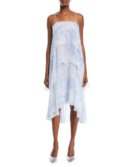 Michael Kors Tiered Silk Slip Dress In Blue Pattern