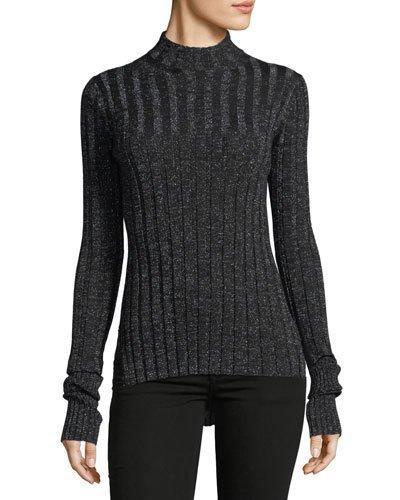 a81ca6680d Theory Metallic Ribbed Merino Wool-Blend Turtleneck Sweater In Black ...
