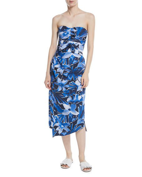 Michael Kors Strapless Tie-Waist Floral-Print Draped Silk Dress In Blue Pattern