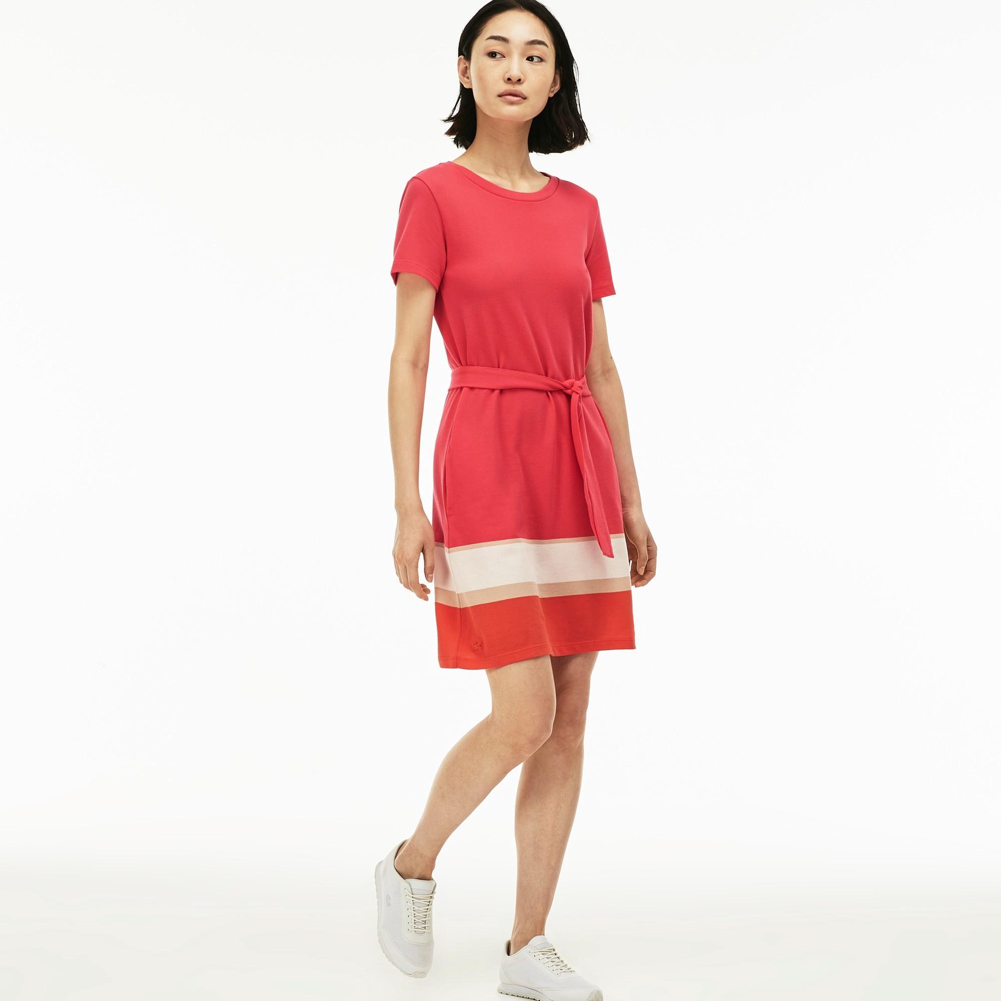 c59b53aa754e Lacoste Women s Colorblock Band PiquÉ T-Shirt Dress - Sirop  Pink Oats-Vanilla