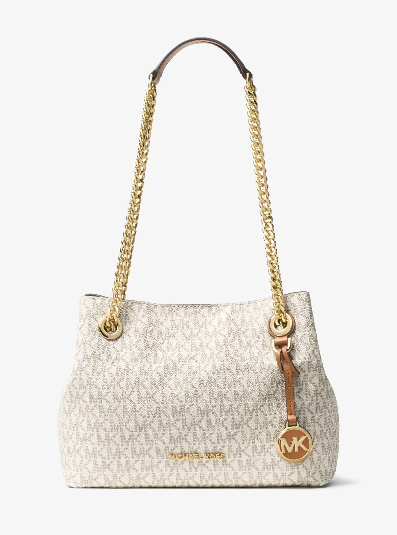 4d4388c5f14b3e Michael Kors Jet Set Logo Shoulder Bag In Vanilla | ModeSens