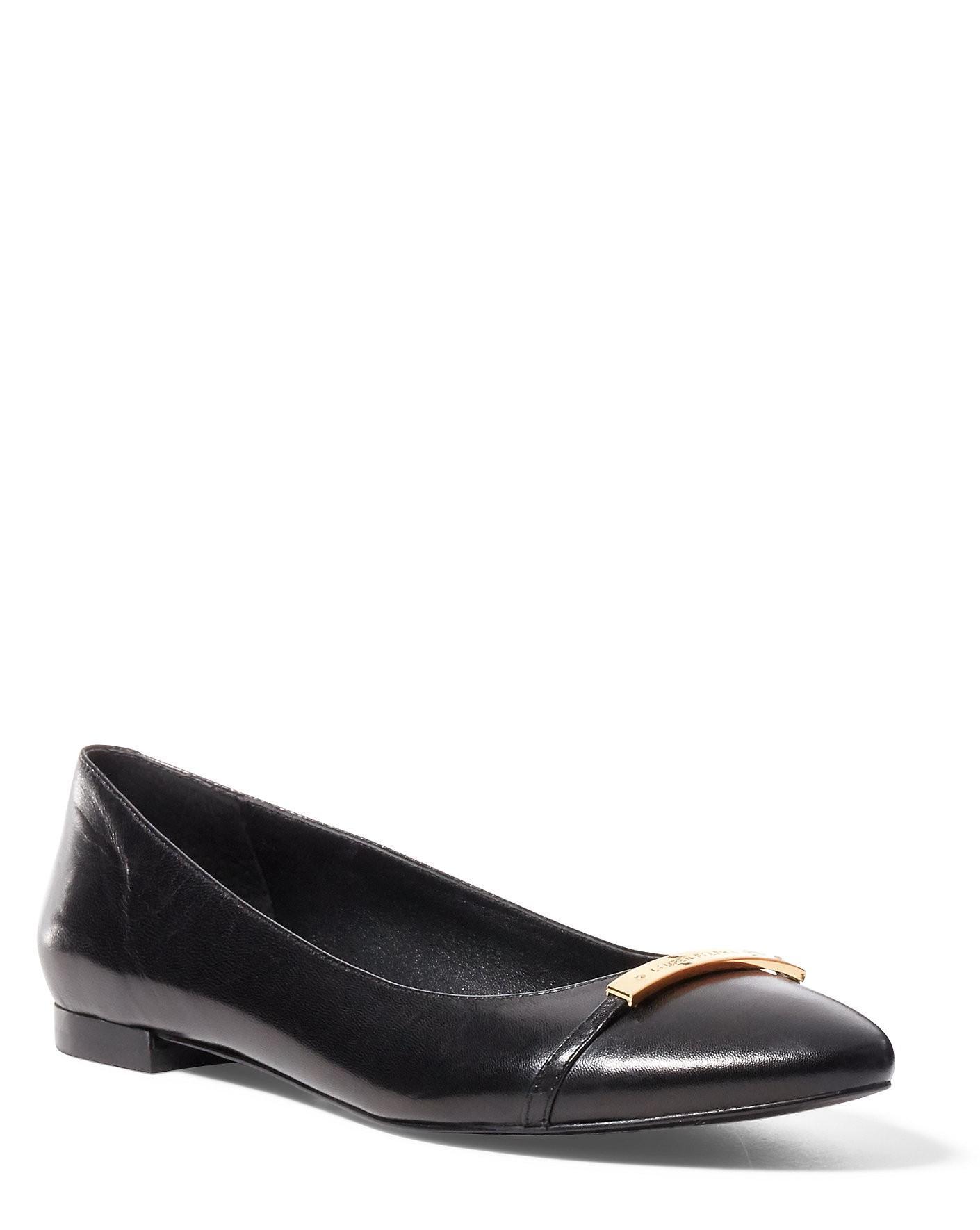 Ralph Lauren Lauren Farrel Leather Flat In Black