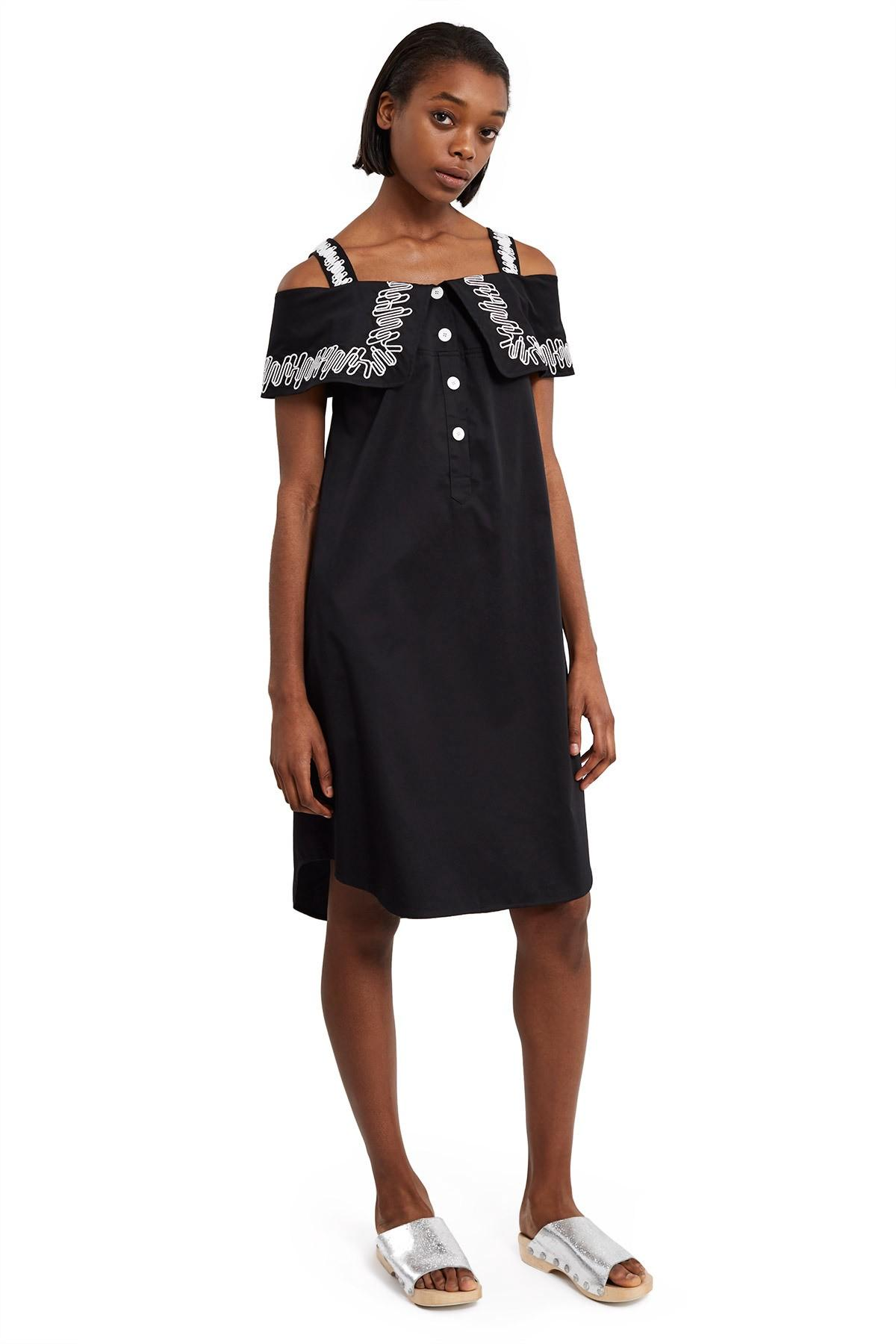 Opening Ceremony Embroidered French Cuff Dress In Black