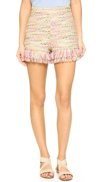 Diane Von Furstenberg 'ray' Fringe Hem Shorts In Jute Multi