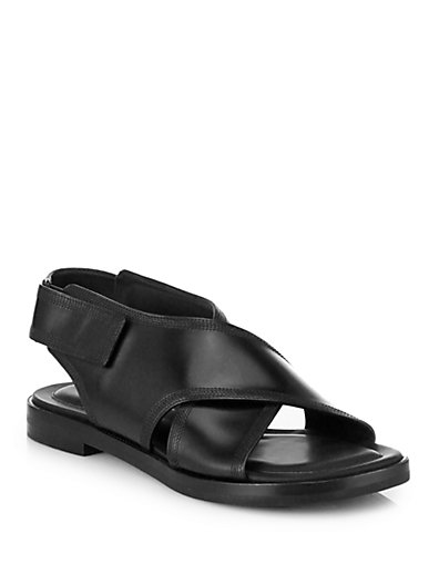 Alexander Wang Karolina Crisscrossed Leather Sandals In Black