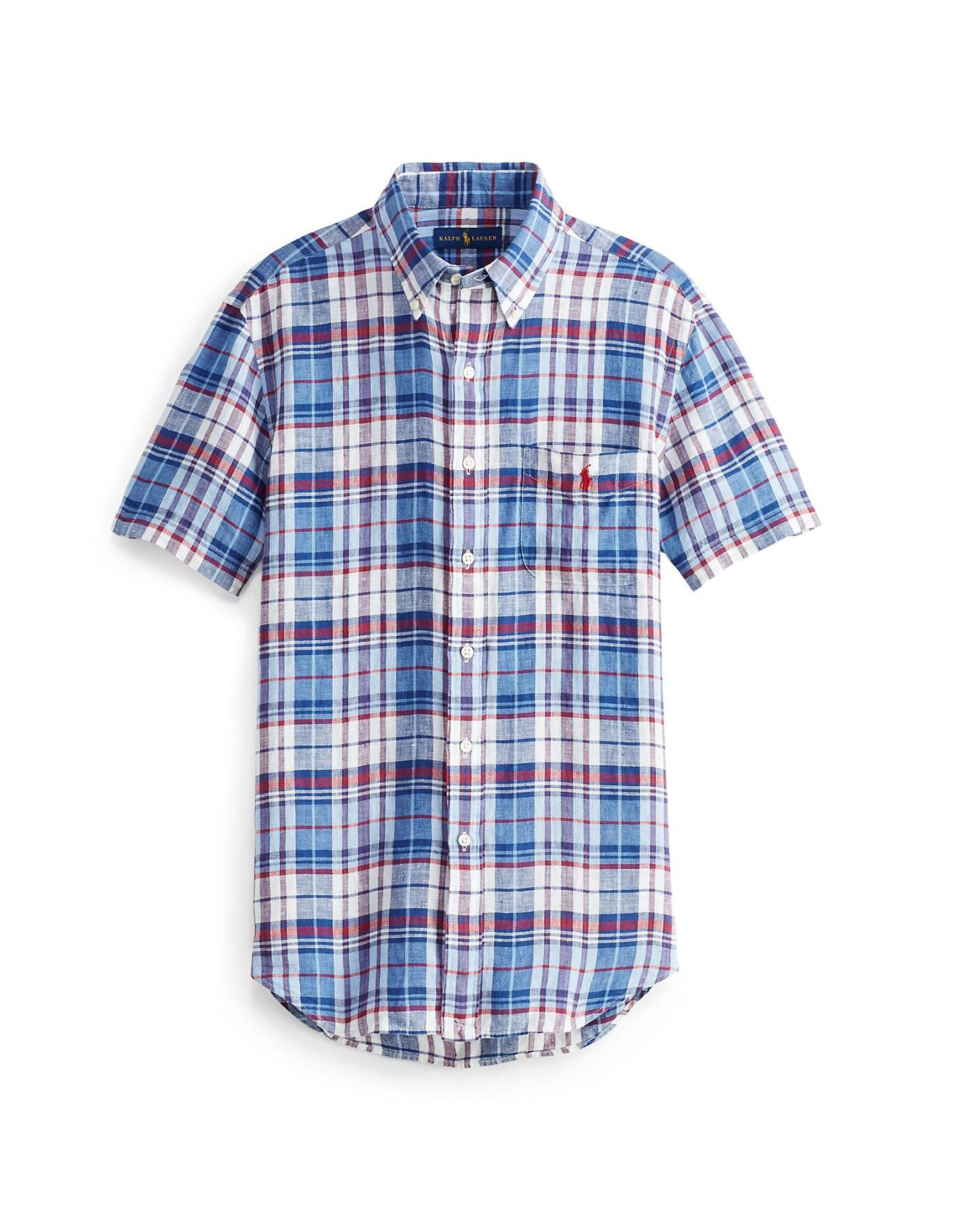 Ralph Lauren Polo  Classic Fit Plaid Linen Shirt In Blue/red Multi