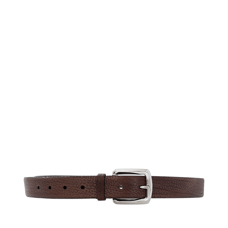 Brunello Cucinelli Leather Aged Belt In Brown