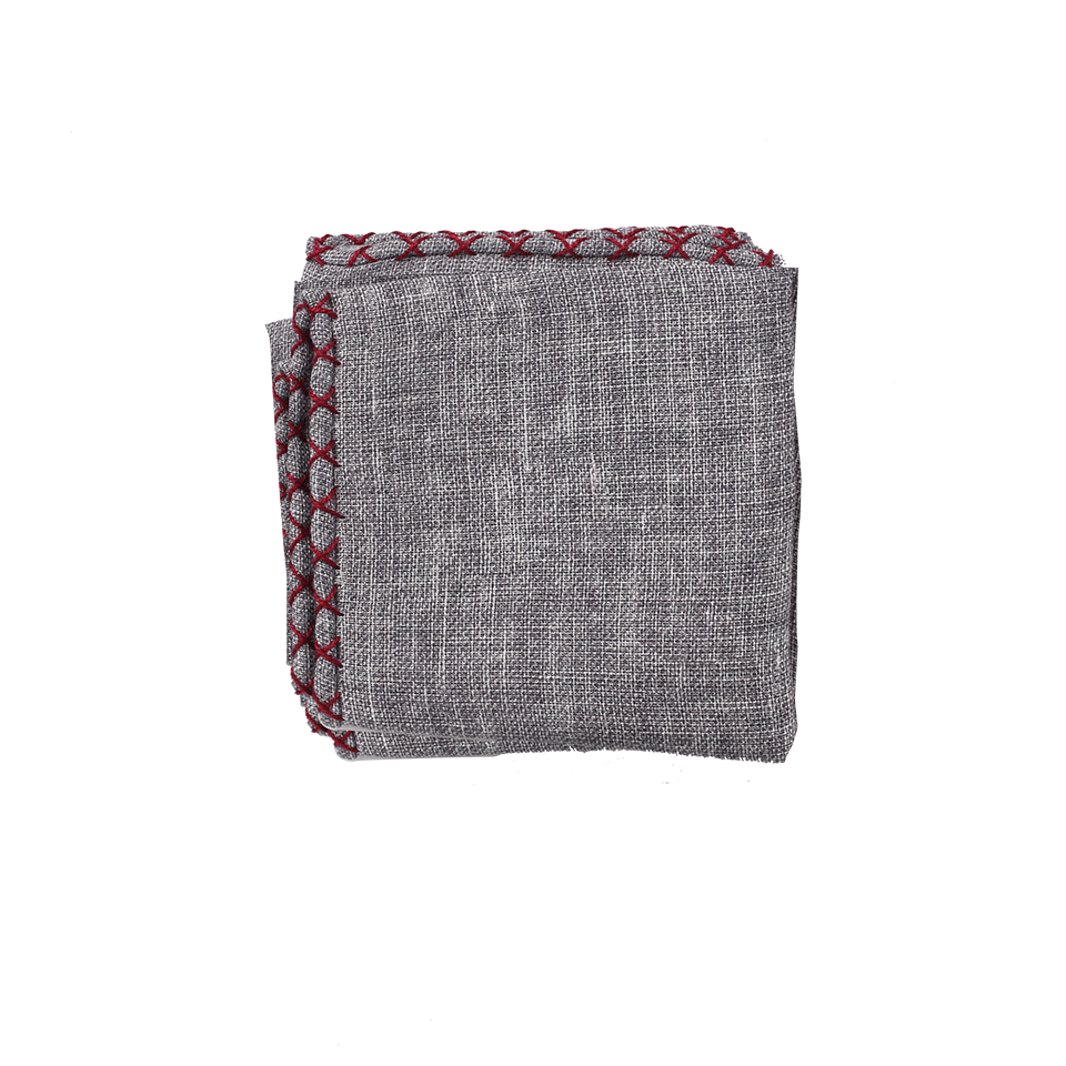 Brunello Cucinelli Zig Zag Pocket Square In Grey
