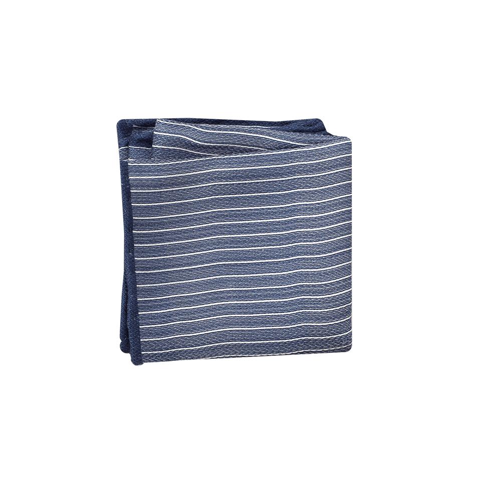 Brunello Cucinelli Striped Silk Pocket Square In Blue