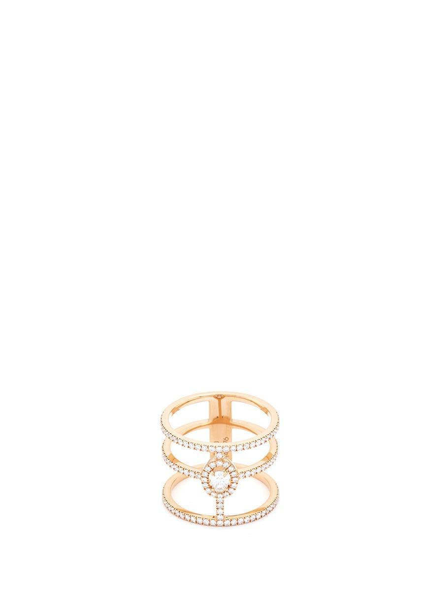 51fbc30ef39304 Messika 'Glam'Azone 3 Rows' Diamond 18K Rose Gold Ring | ModeSens